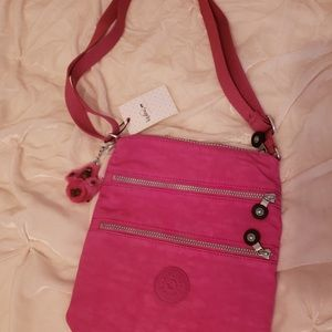Kipling Very Berry Messenger Bag with keychain